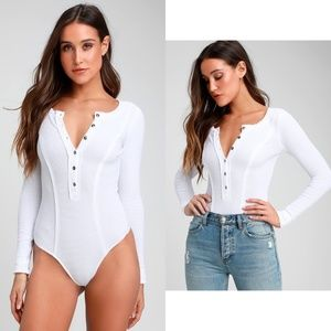 Free People Frankie Button-Up Bodysuit Size L NWT